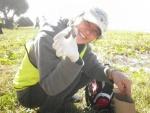 Jane, a CVA volunteer, collecting dingo scats on Fraser Island's Eastern Beach (Photo by Jono Bateman)