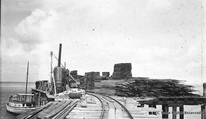 Timber on McKenzie's Jetty awating shipment to Sydney