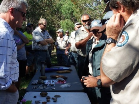 A display of artefacts, tools and implements explained by traditional owners Conway and Darren. Photos courtesy of Darren Blake.