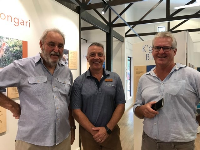 Mike West (FIDO) and Marc Dargusch (QPWS) enjoying the new displays at the K'gari World Heritage Discovery Centre with David Hay